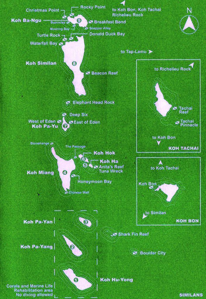 Карта - дайв сайты Симиланских островов